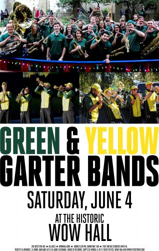Green and Yellow Garter Bands | WOW Hall & The Community
